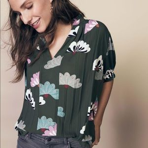 Ann Taylor Floral Pleated Puff Sleeve Popover